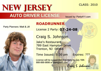 NJ Driver's License New Jersey http://www.party411.com/custom-drivers-licenses-new.jersey.html