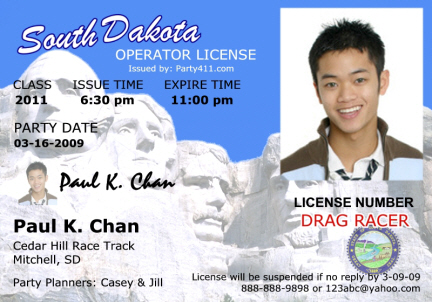 personalized driver's license invitations and birth announcements