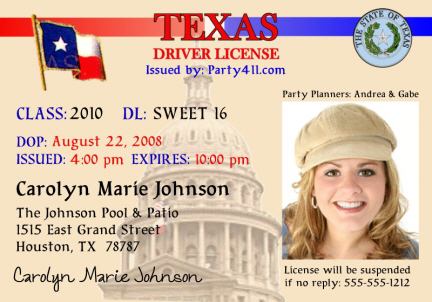 Personalized drivers license invitations and birth announcements texas drivers license invitation sweet 16 sciox Choice Image