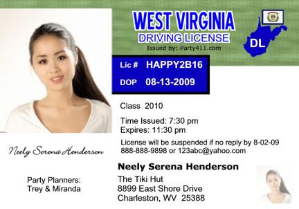 Personalized Driver S License Invitations And Birth