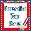 Personalized Election Theme Party Invitations, Candy Bar Wrappers, Water Bottle Labels, Life-sized Cutouts, Personalized Party Favors